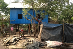 Monsoon season can last five months. That is why the huts are being built on stilts.