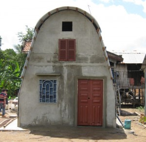 View of a completed house using techniques and funding that Bart Belanger brought to Cambodia.